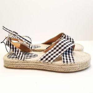 595c7b6209e CBOCS Shoes - Gingham Espadrille Flatform Sandals Blk Wht Sz 9